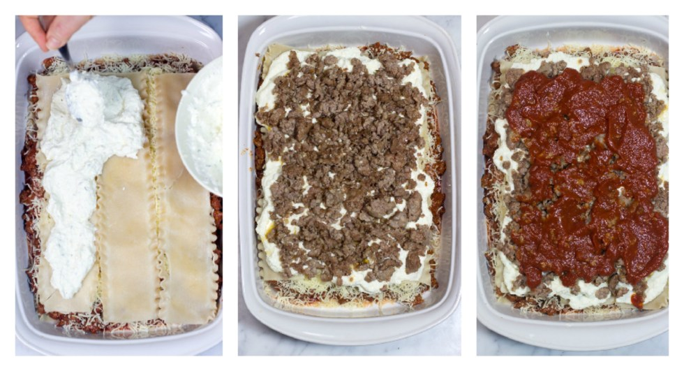 add ricotta cheese mixture,sausage, and sauce