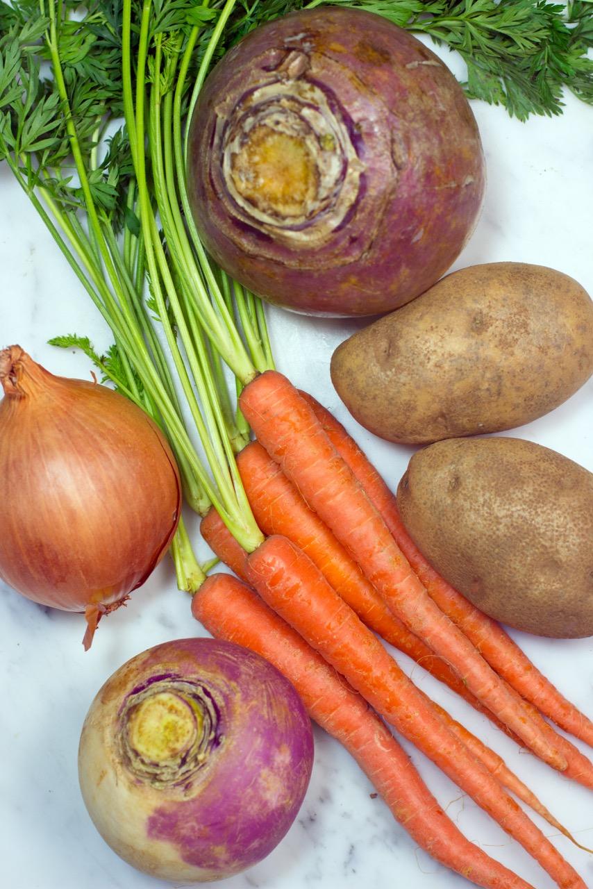 root vegetables, rutabaga, turnip, onion, carrots, potatoes