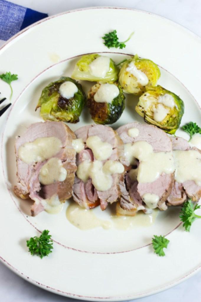 pork tenderloin cordon bleu with Brussels sprouts