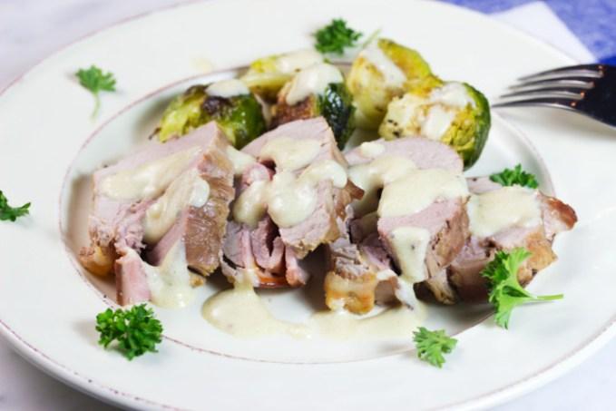 pork tenderloin cordon bleu on a plate