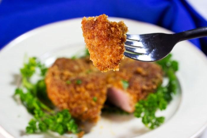keto pork tenderloin crispy bites on a fork