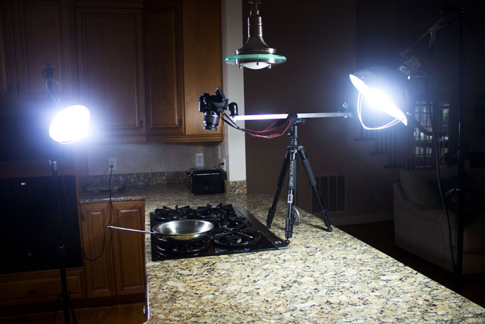 setup for overhead cooking videos