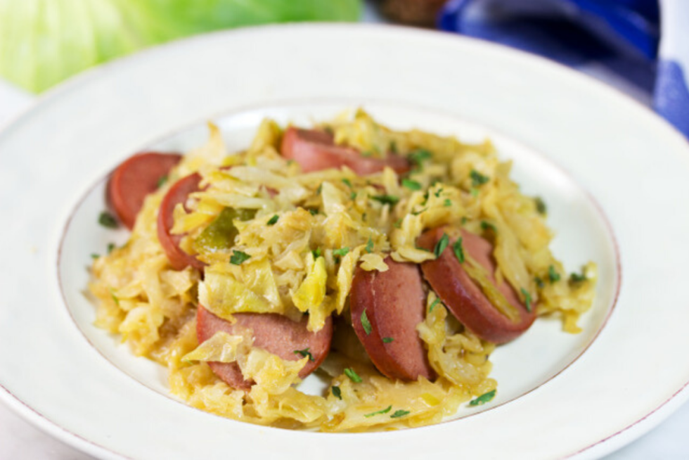 keto low carb fried cabbage and knockwurst