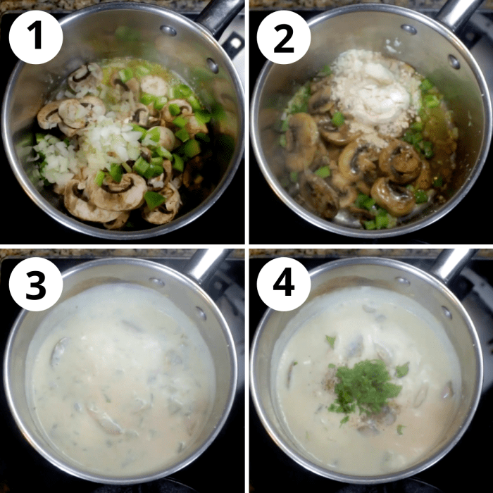 collage of how to make cream of mushroom soup
