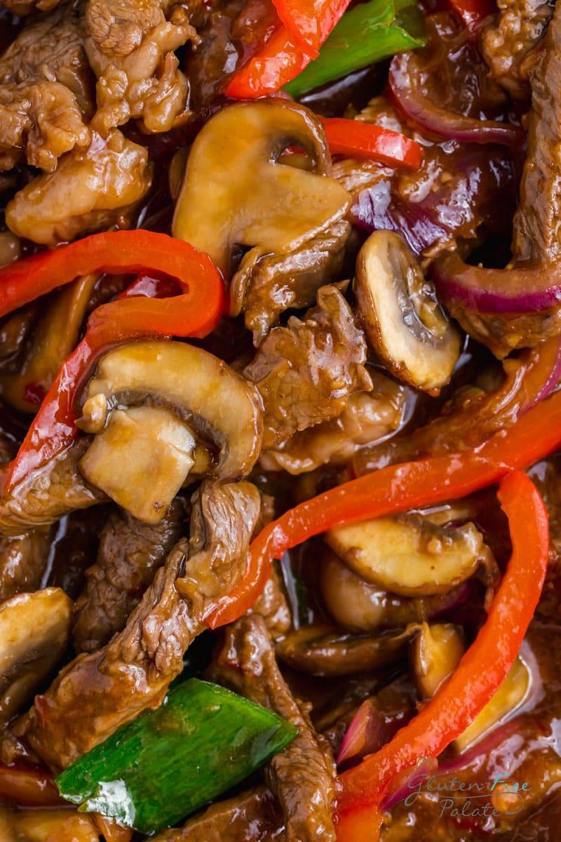 close up of gluten free Mongolian beef