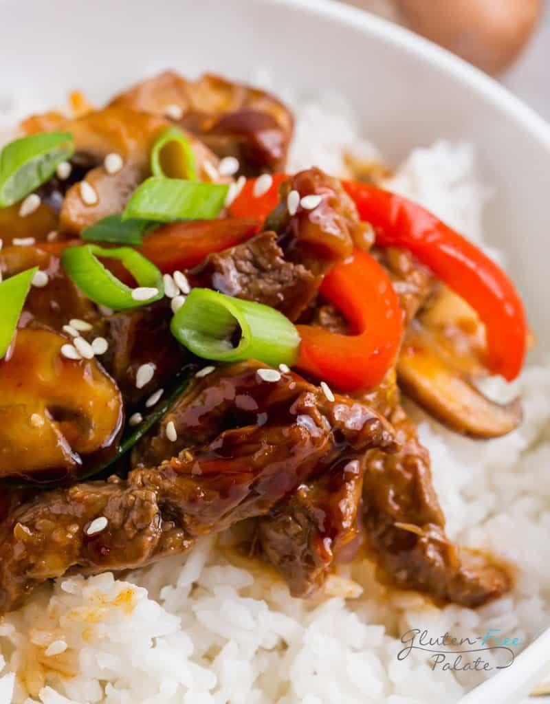 gluten free Mongolian beef over rice