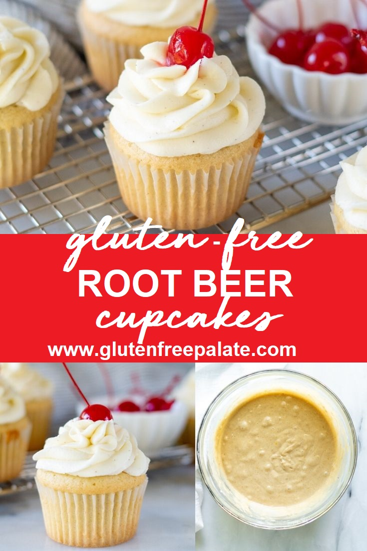 a white Gluten Free Root Beer Cupcake topped with white frosting with a cherry on top and a bowl of red cherries in the background with the words gluten free root beef cupcakes in the center