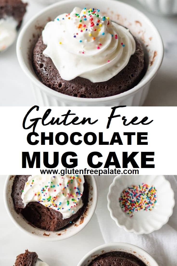 a pinterest pin collage with two photos of mug cakes with the words Gluten Free Mug Cake in text in the center