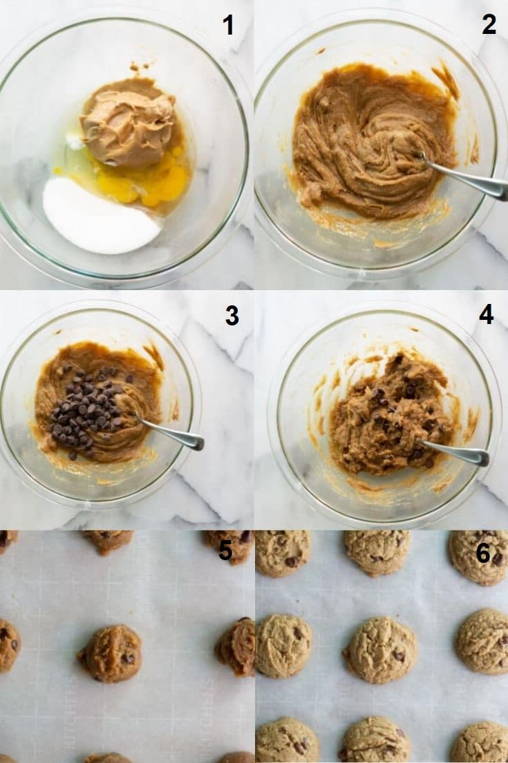 six images in a collage showing the steps on how to make gluten free peanut butter cookies