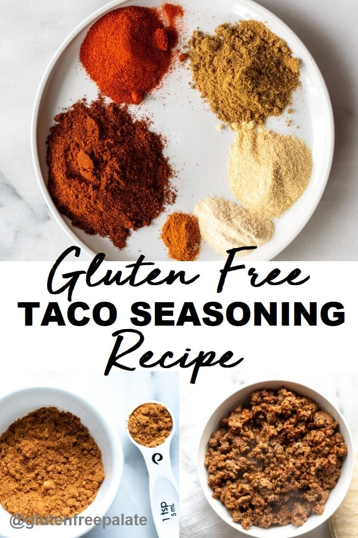 gluten free taco seasoning pinterest pin with text in the center