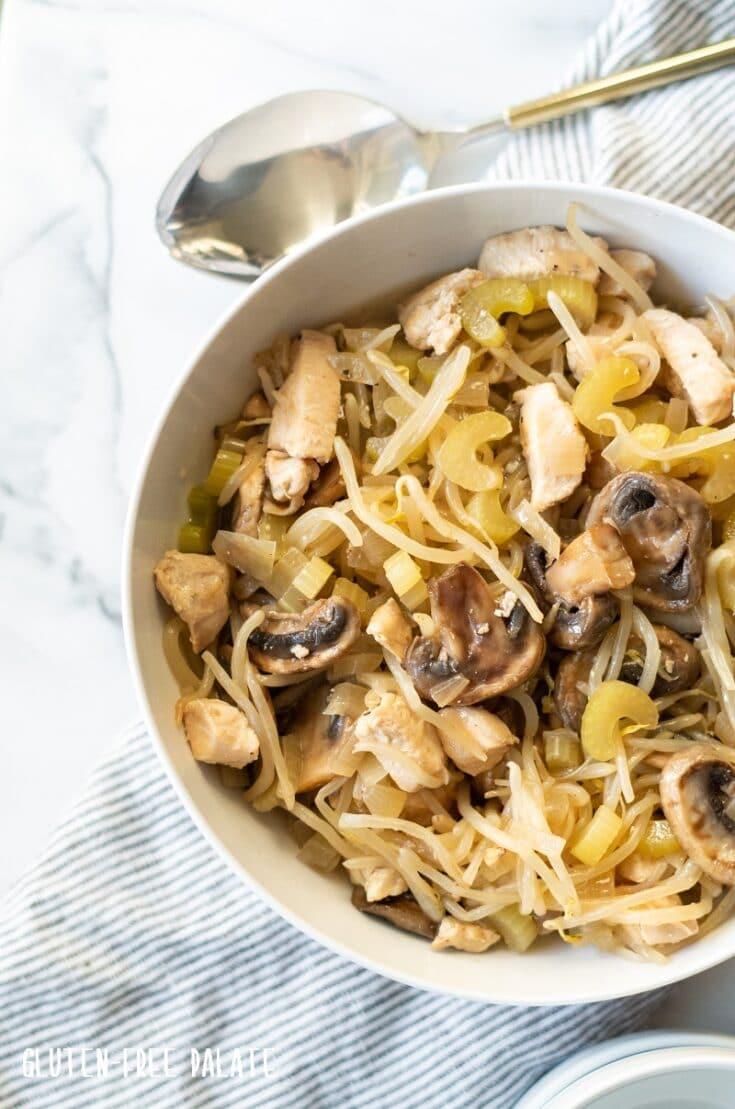 chicken subgum chow mein in a white bowl