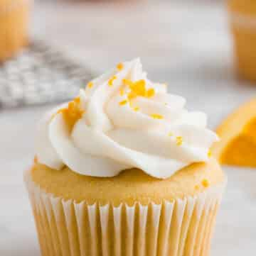 close up of a gluten free orange cupcake