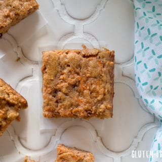 a close up top down view of a paleo carrot cake bar