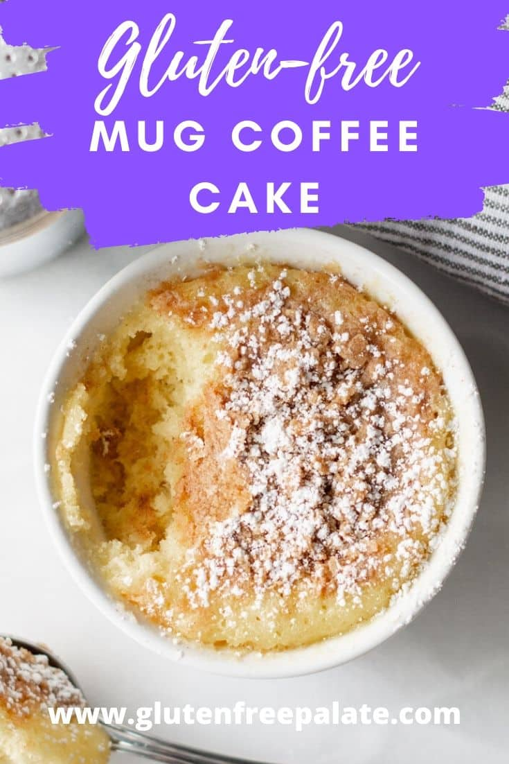 mug coffee cake in a white ramekin with the text overlay gluten free mug coffee cake