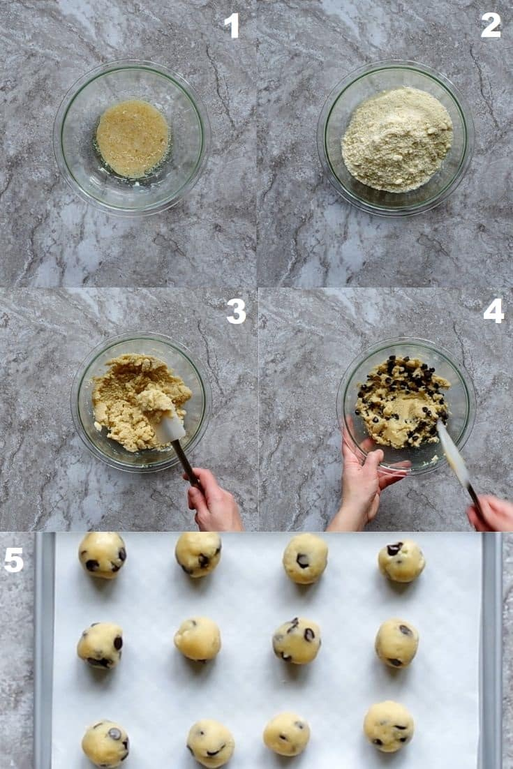 a collage of six photos showing how to make paleo cookie dough