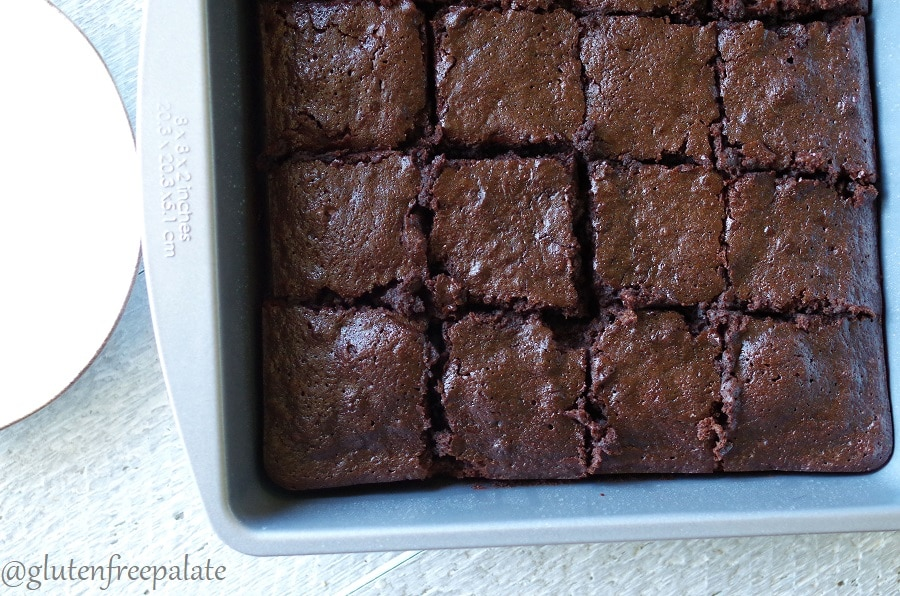 top down view of Gluten-Free Dark Chocolate Banana Brownies sliced in a pan