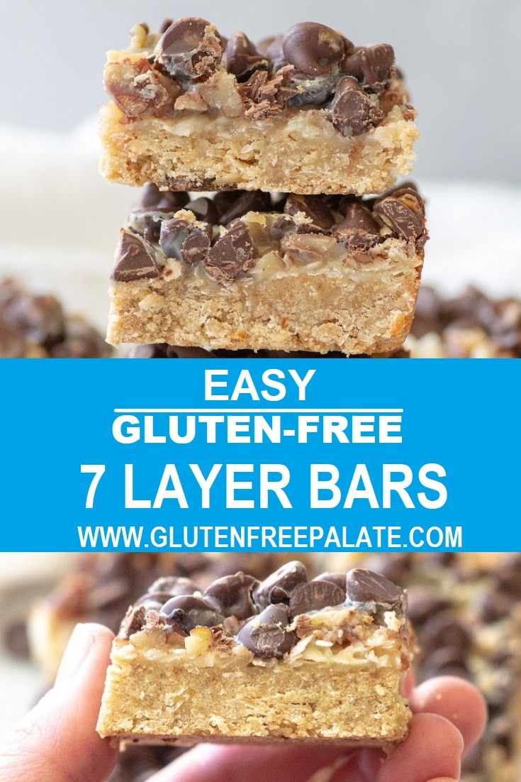 a collage of two photos of bars with the words easy gluten-free 7 later bars in text in the center