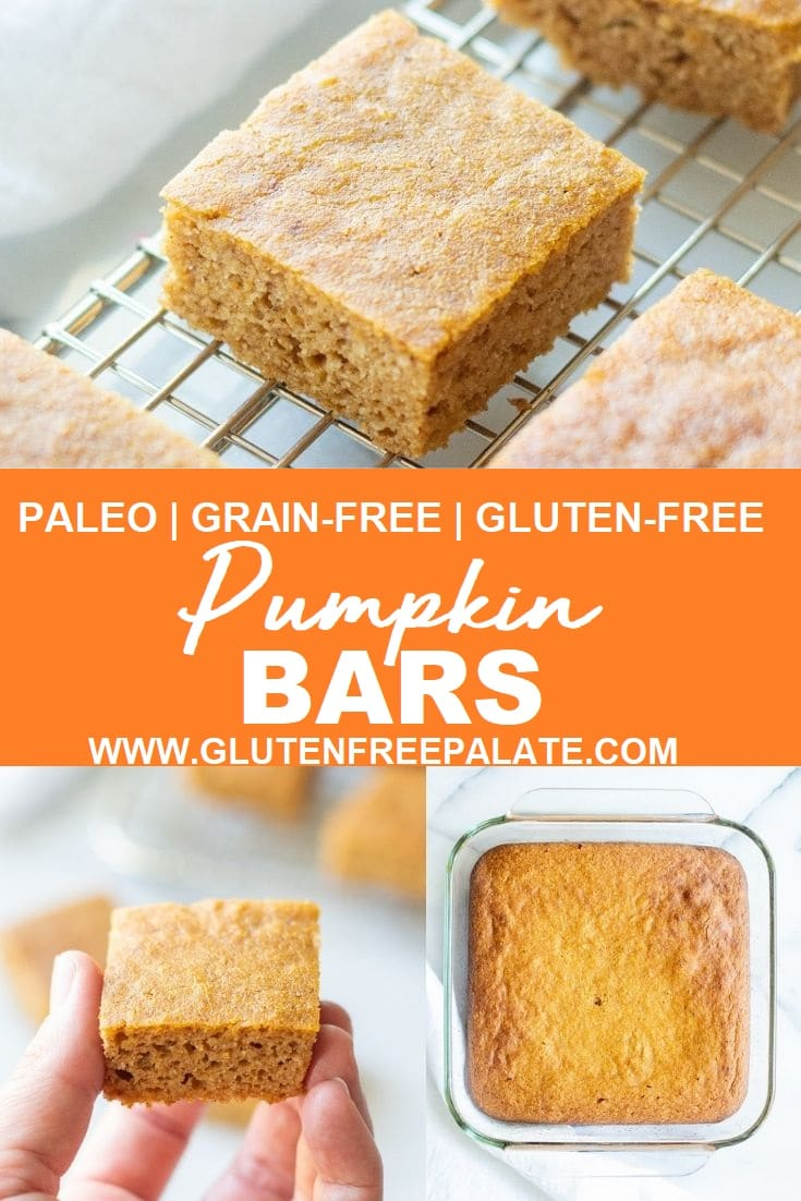 collage photo of three images, one with a pumpkin bar on a wire rack the other with pumpkin bars in a glass baking dish, one with a hand holding a pumpkin bar, the words paleo grain-free gluten-free pumpkin bars typed in the center