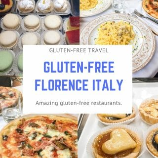 a collage of four photos of macaroons, pasta, pizza, and a pastry with the words gluten free travel gluten free florence italy in the center in text