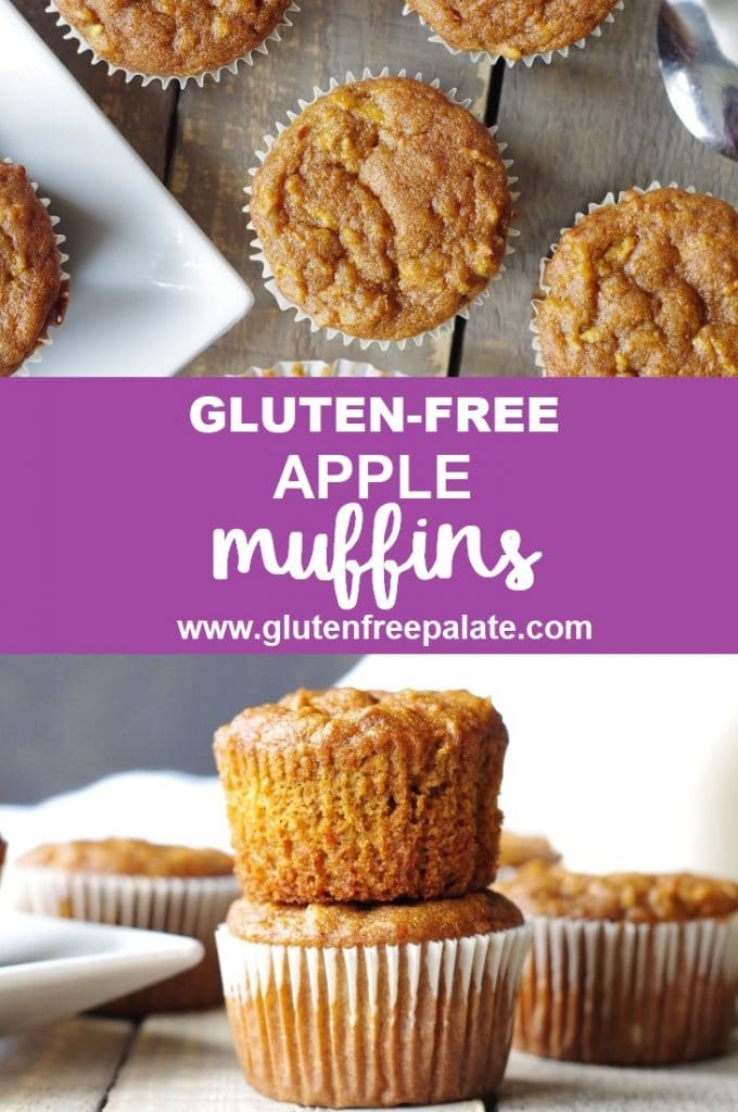 a pinterest pin collage of two photos of apple muffins with the words gluten-free apple muffins in text in the center