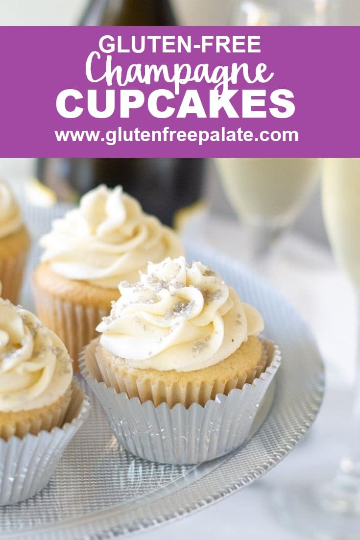 a pinterest pin collage of cupcakes with champagne glasses in the background, with the words gluten-free champagne cupcakes in text at the top