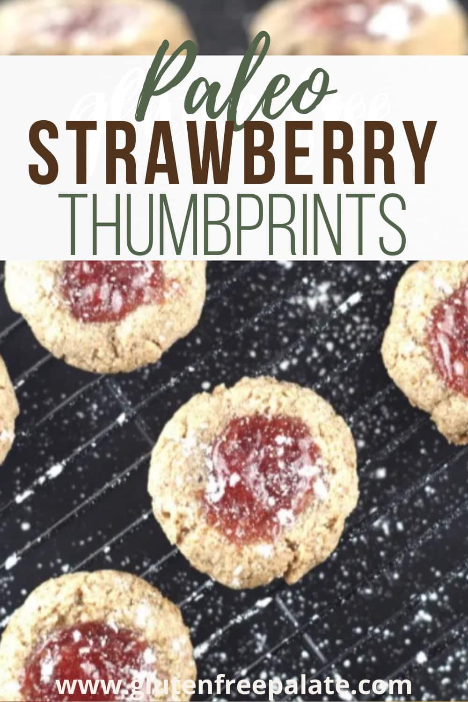 pinterest pin for strawberry thumbprints