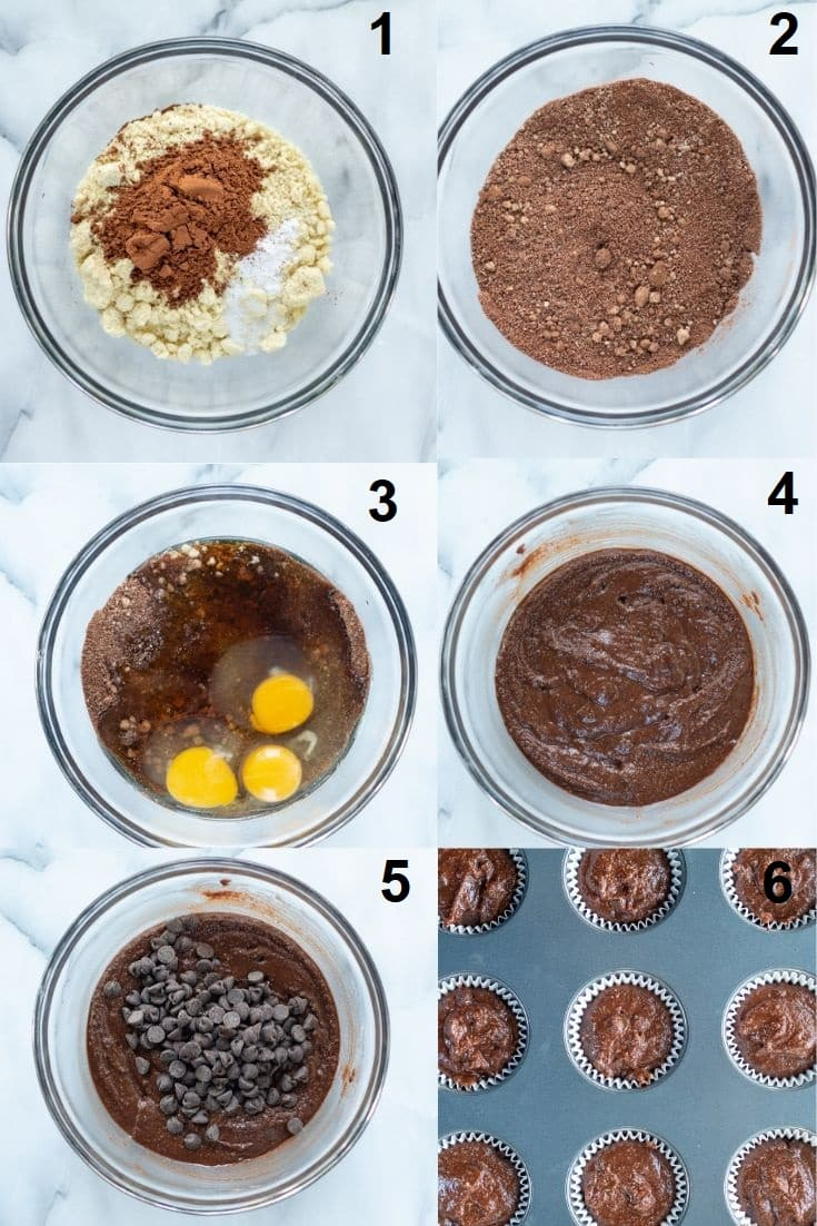 a collage of six photos showing how to make paleo chocolate muffins