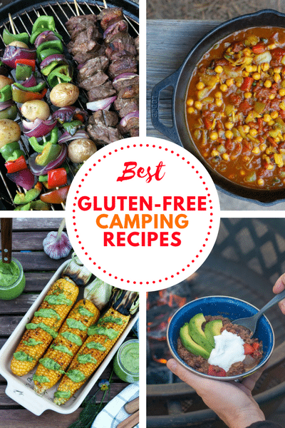 a collage of photos of four recipes with the words best gluten-free camping recipes in text in the center