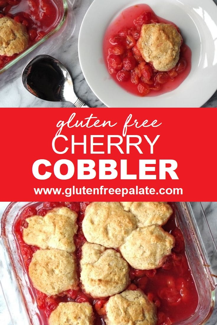 a pinterst pin collage with two photos of cobbler with the words gluten free cherry cobbler in text in the center