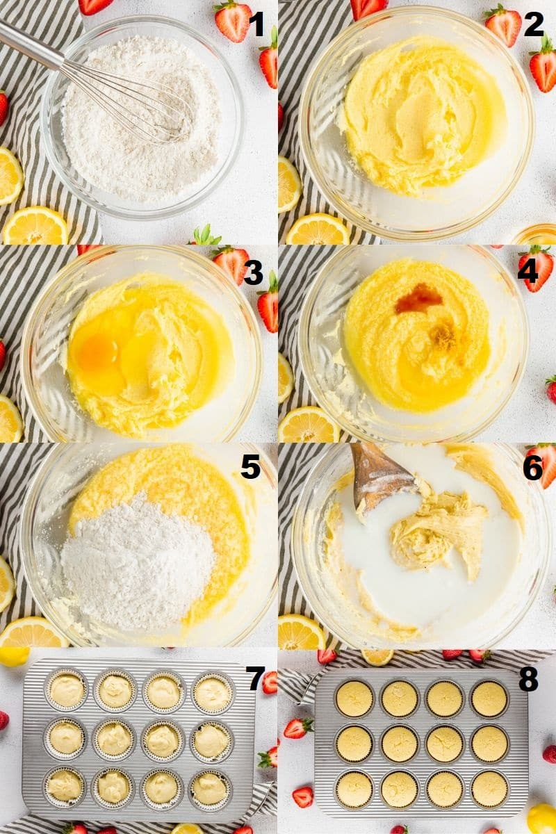 a collage of eight photos showing the steps to make gluten free strawberry cupcakes