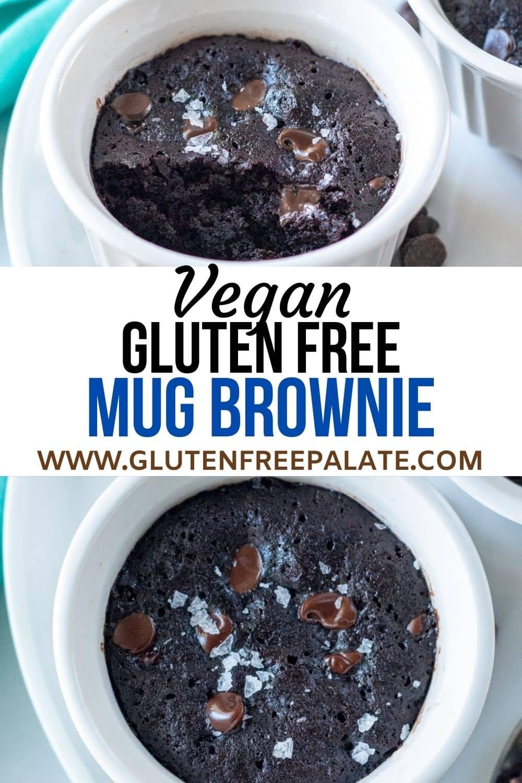 pinterest pin collage for a vegan mug brownie