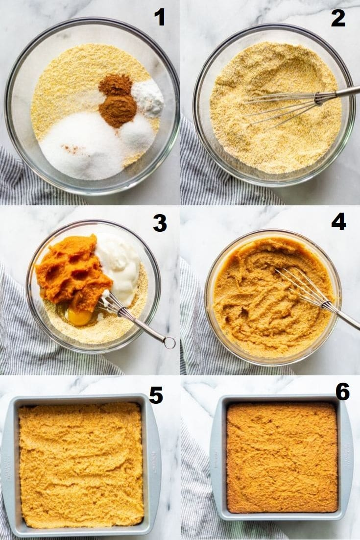 a collage of six photos showing the steps how to make pumpkin cornbread