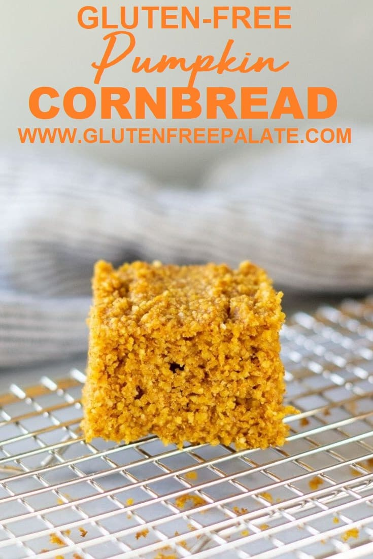 slice of pumpkin cornbread on a cooling rack with the words gluten-free pumpkin cornbread in text at the top