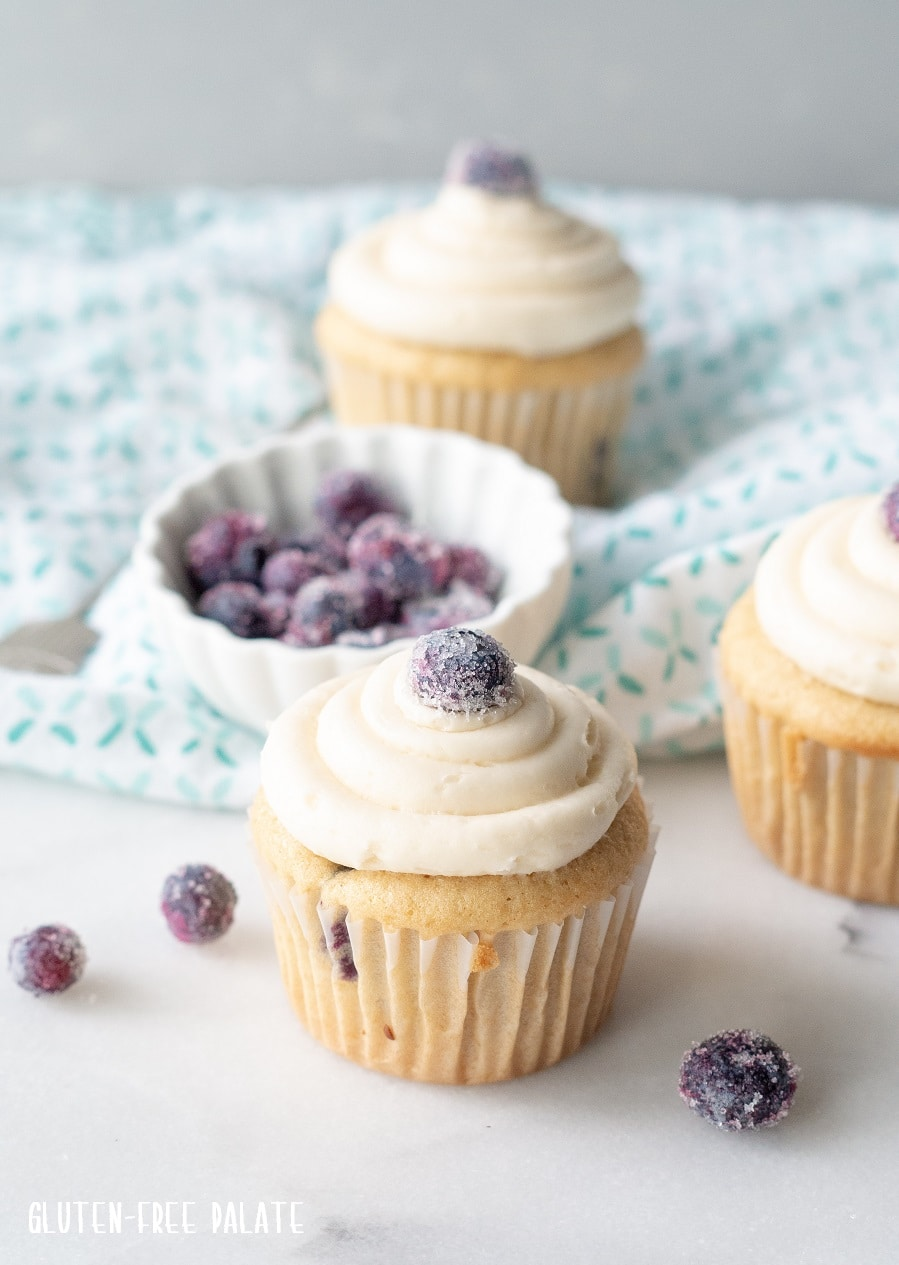 a side view of a a blueberry cupcake with white frosting and a sugared blueberry on top
