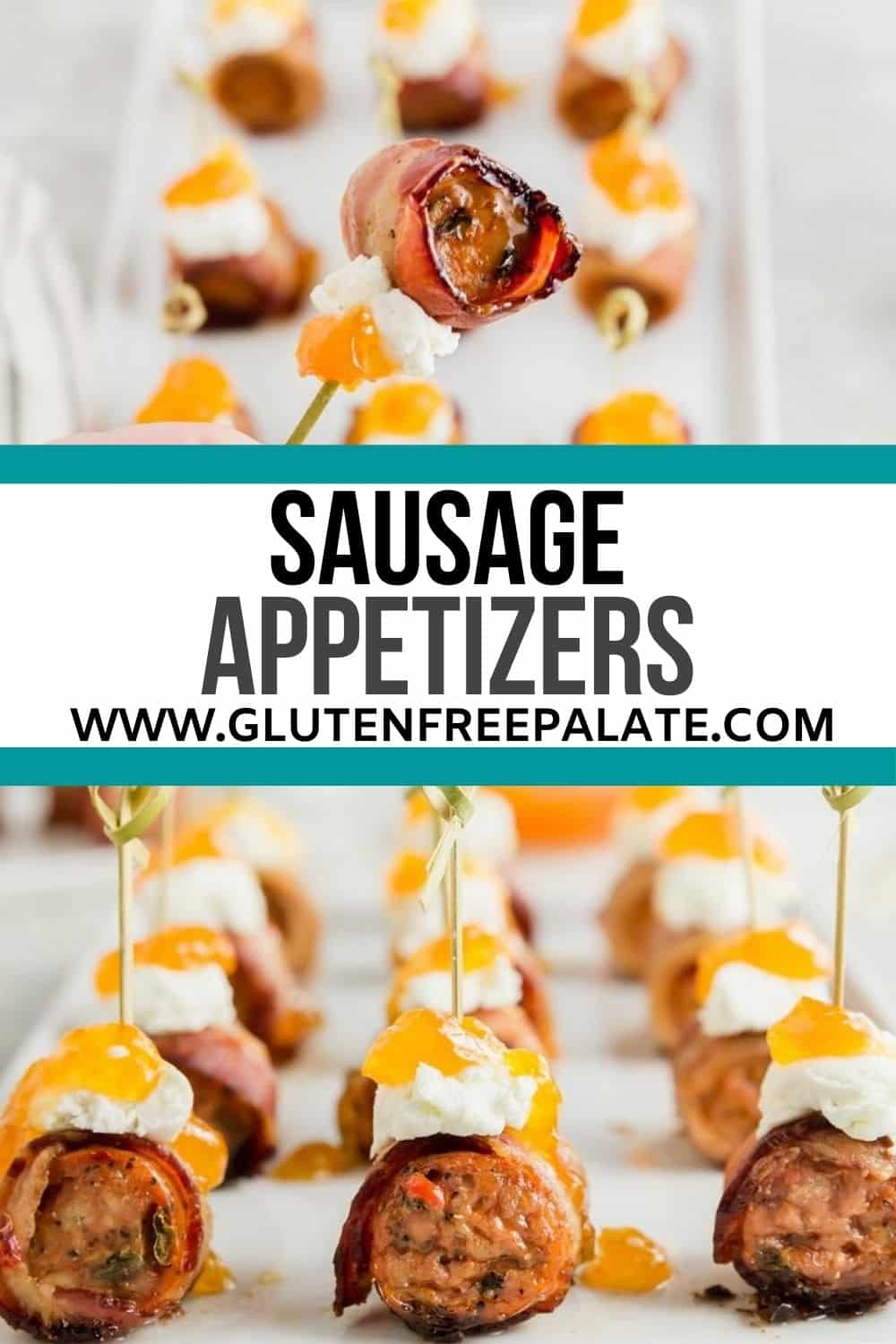 a pinterest pin collage for sausage appetizers