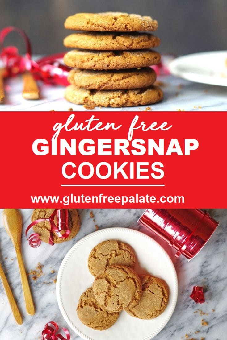 a pinterest pin of two images of cookies with the words gluten free gingersnap cookies in text in the center
