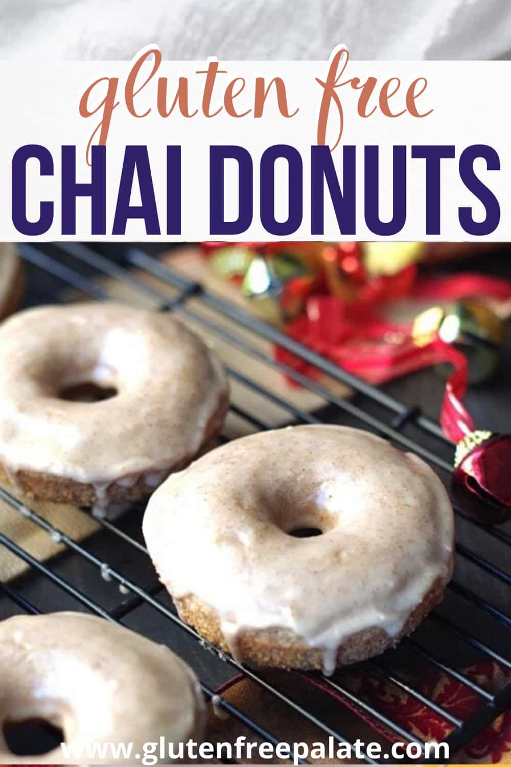 pinterest pin for gluten free chai donuts