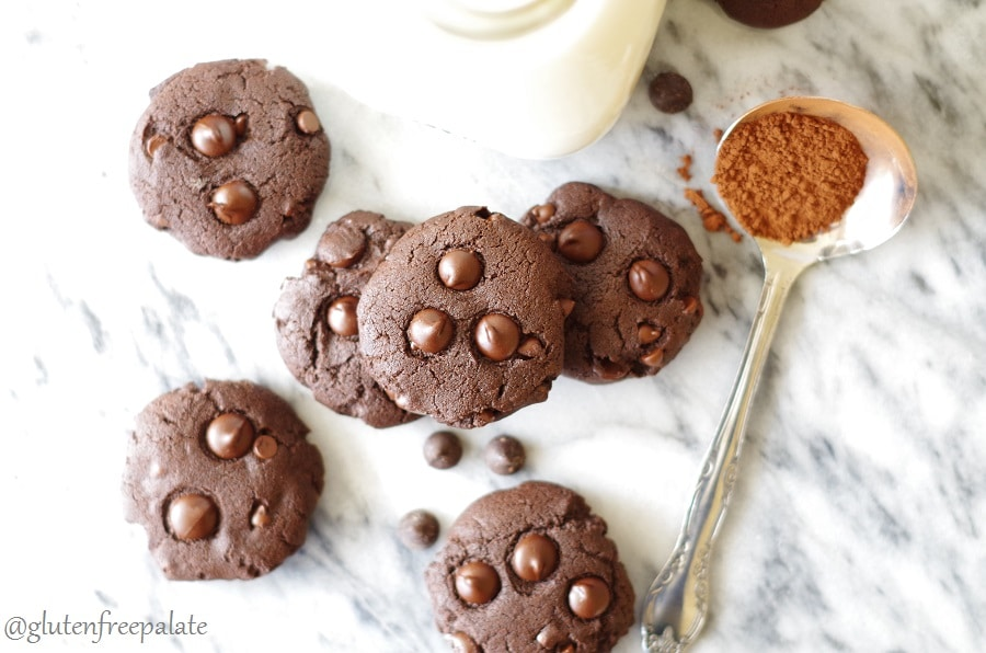 a top down view of chocolate cookies topped with chocolate chips nexto to a spoonful of cocoa, showing the cookies after cooking