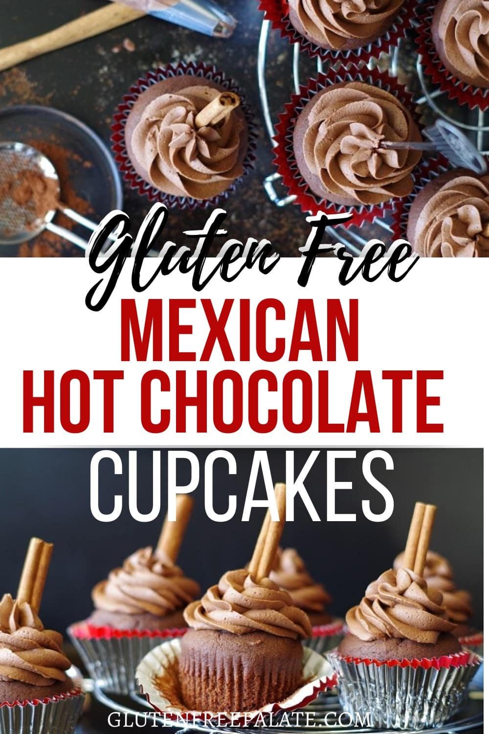pinterest pin for mexican hot chocolate cupcakes