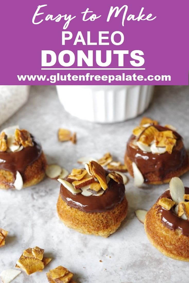 pinterest pin of paleo donuts with chocolate glaze and slivered almonds with the words easyt ot make paleo donuts in text at the top