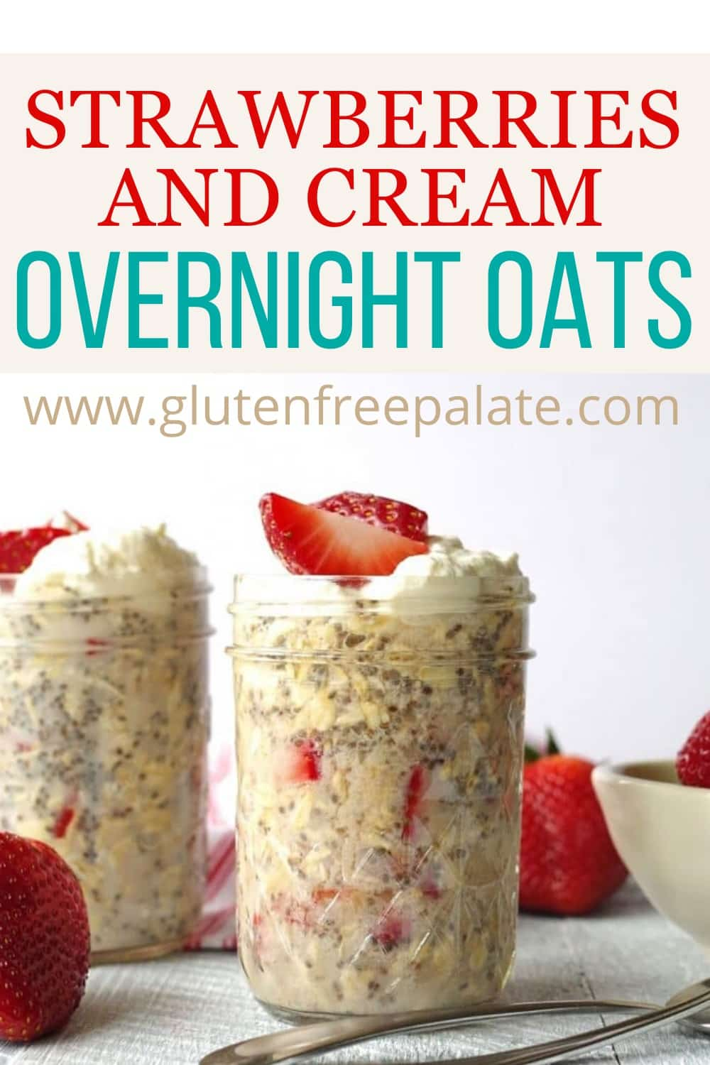 pinterest pin for strawberries and cream overnight oats