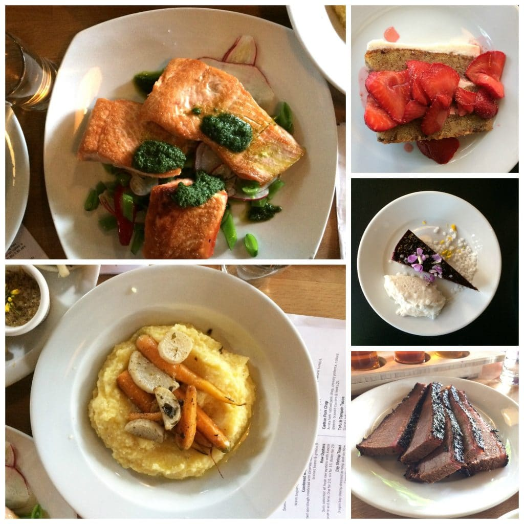 a collage of five photos of dishes from five Gluten-Free Restaurants and Bakeries in Portland Oregon