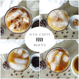 a collage of photos showing top down view of iced coffee with the words iced coffee four ways written in the center