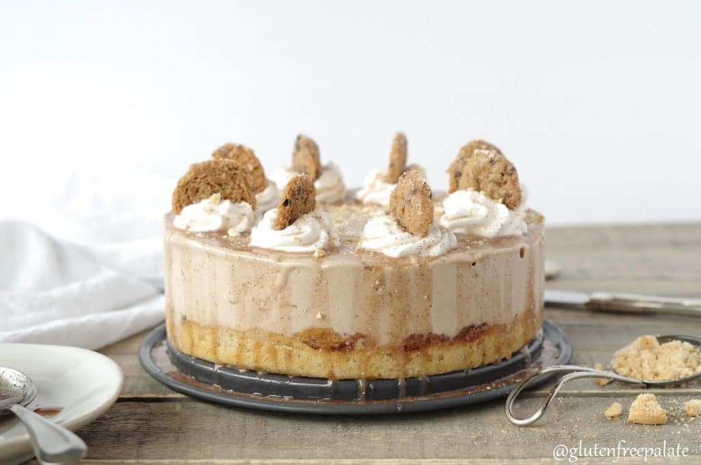 gluten free ice cream cake with snickerdoodles on top