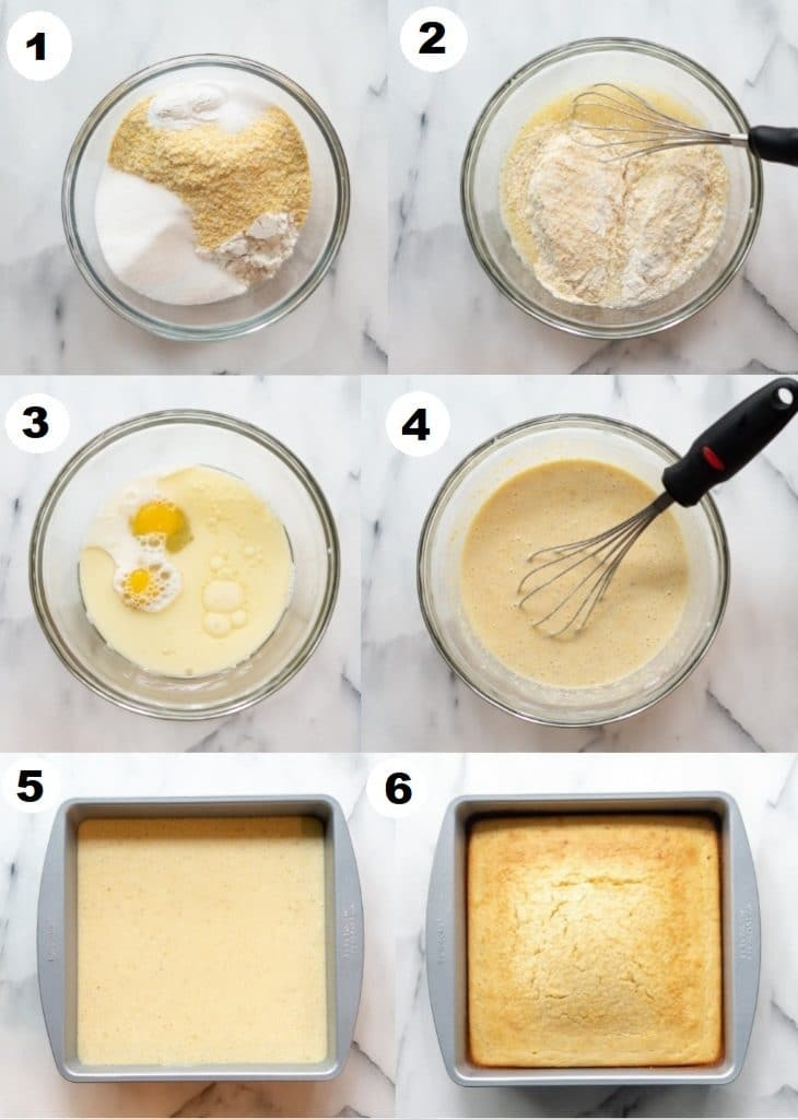a collage of six numbered photos showing how to make gluten free cornbread, the numbers match the steps below