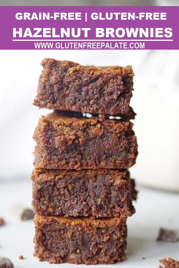 a pinterest pin with four brownies stacked with the words grain-free gluten-free hazelnut brownies at the top
