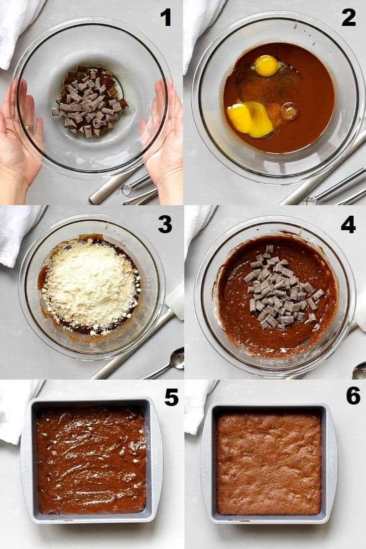 a collage of six photos showing the steps how to make paleo brownies