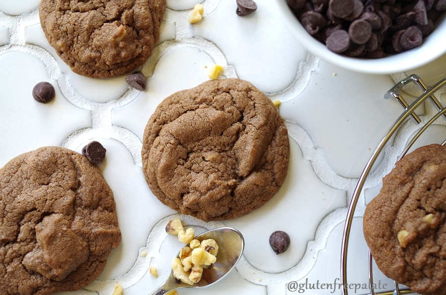 Gluten-Free Chocolate Drop Cookies on a white counter