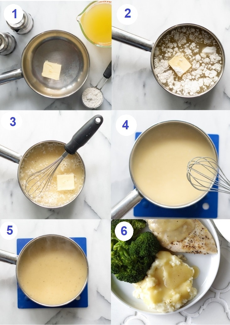a collage of six photos showing how to make gluten free gravy