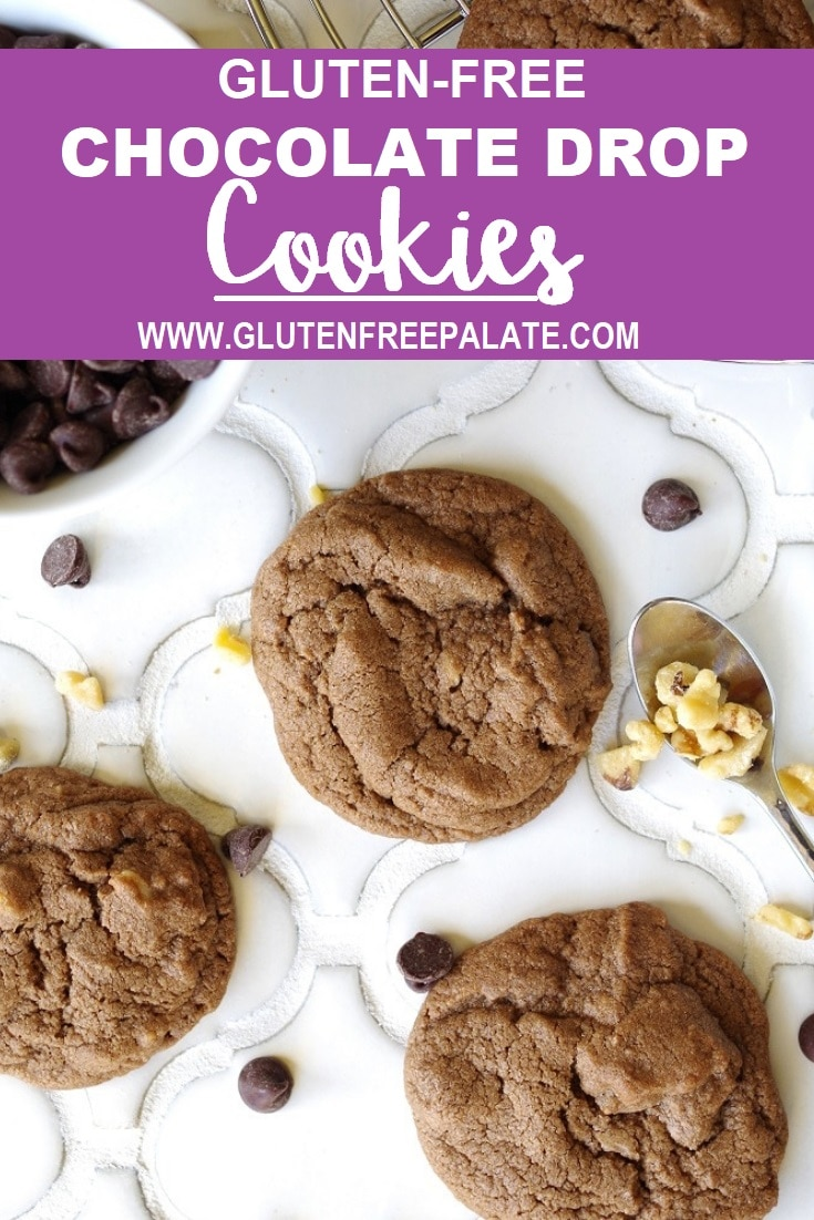 a pinterest pin with a photo of chocolate cookies on a white counter with the words gluten free chocolate drop cookies at the top in text